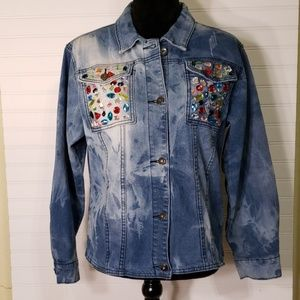AMI Distressed Denim Jacket with Colorful Stones